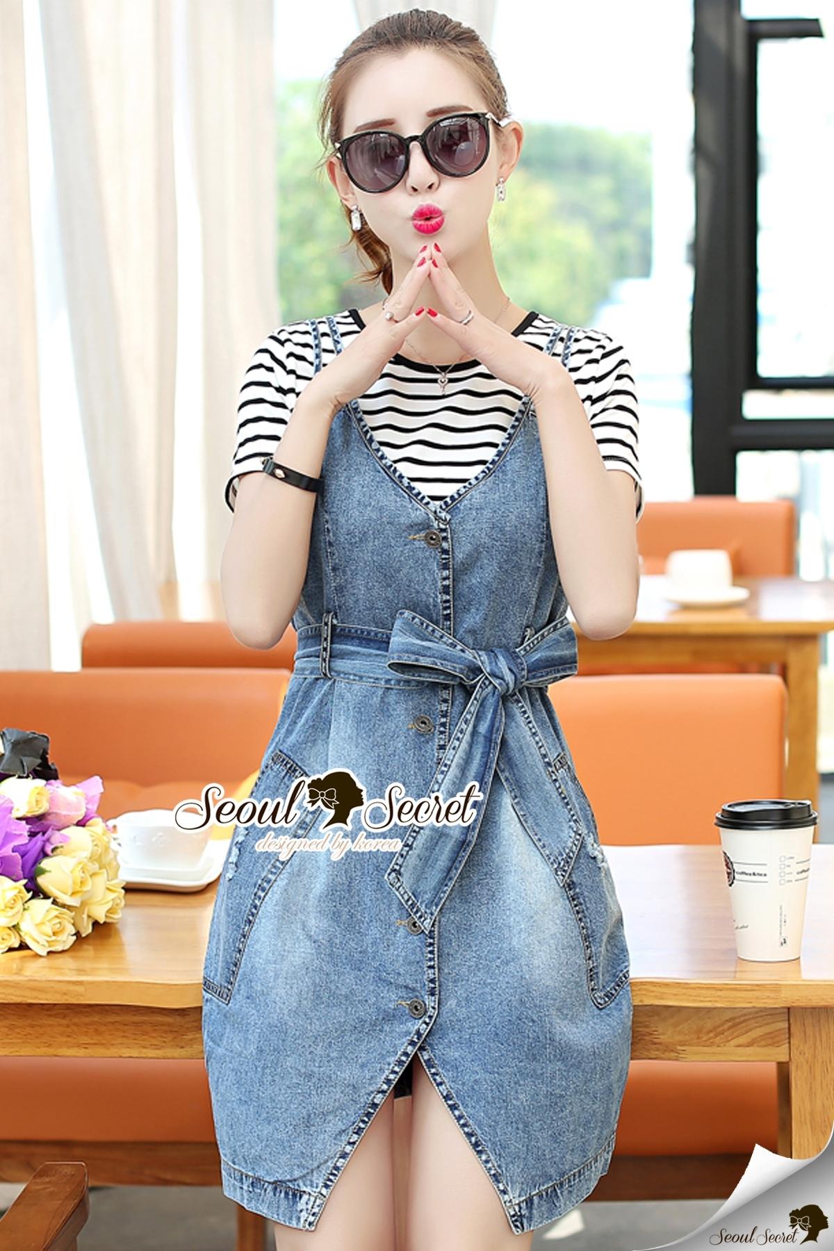 Seoul Secret Say's... Chill Cami Denim Dress Stripy Cami Blouse Set