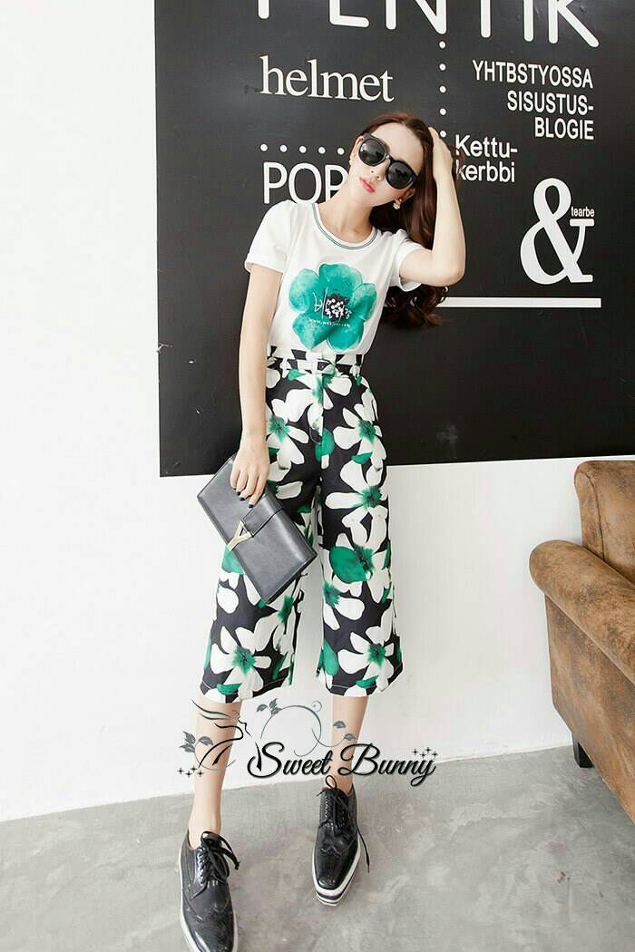 Sweet Bunny Present... Shoe flower wide trousers set with belt