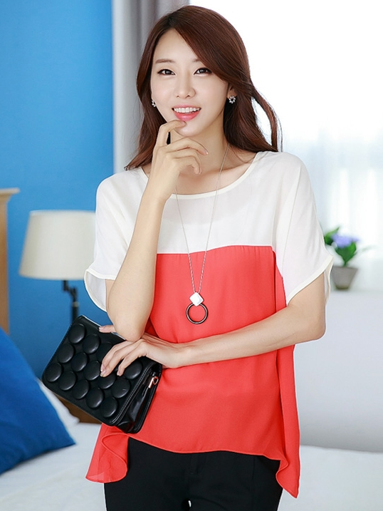 เสื้อแฟชั่น คอกลม แขนสั้น ผ้าชีฟอง เสื้อสีขาวตัดสีแดงส้ม รหัส 44123-แดง