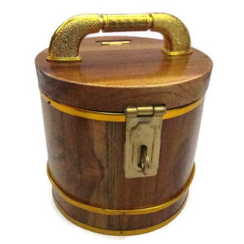 ถังเงิน ถังทอง กระปุกออมสิน ไม้สัก ทรงกลม 4 นิ้ว