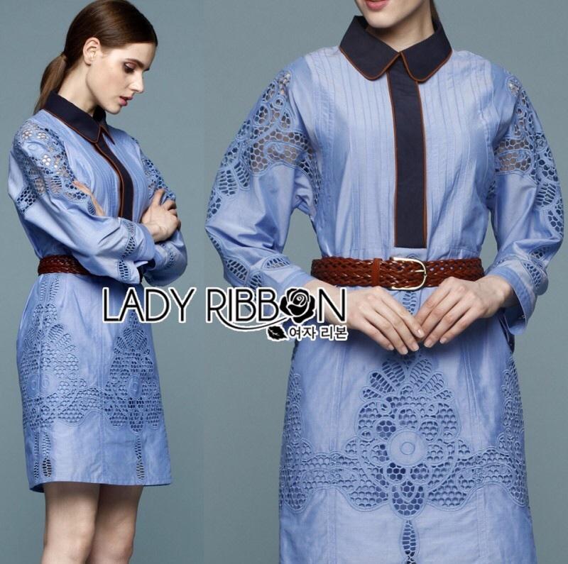 Lady Ribbon's Made Gucci Blue Denim Cotton and Lace Shirt Dress