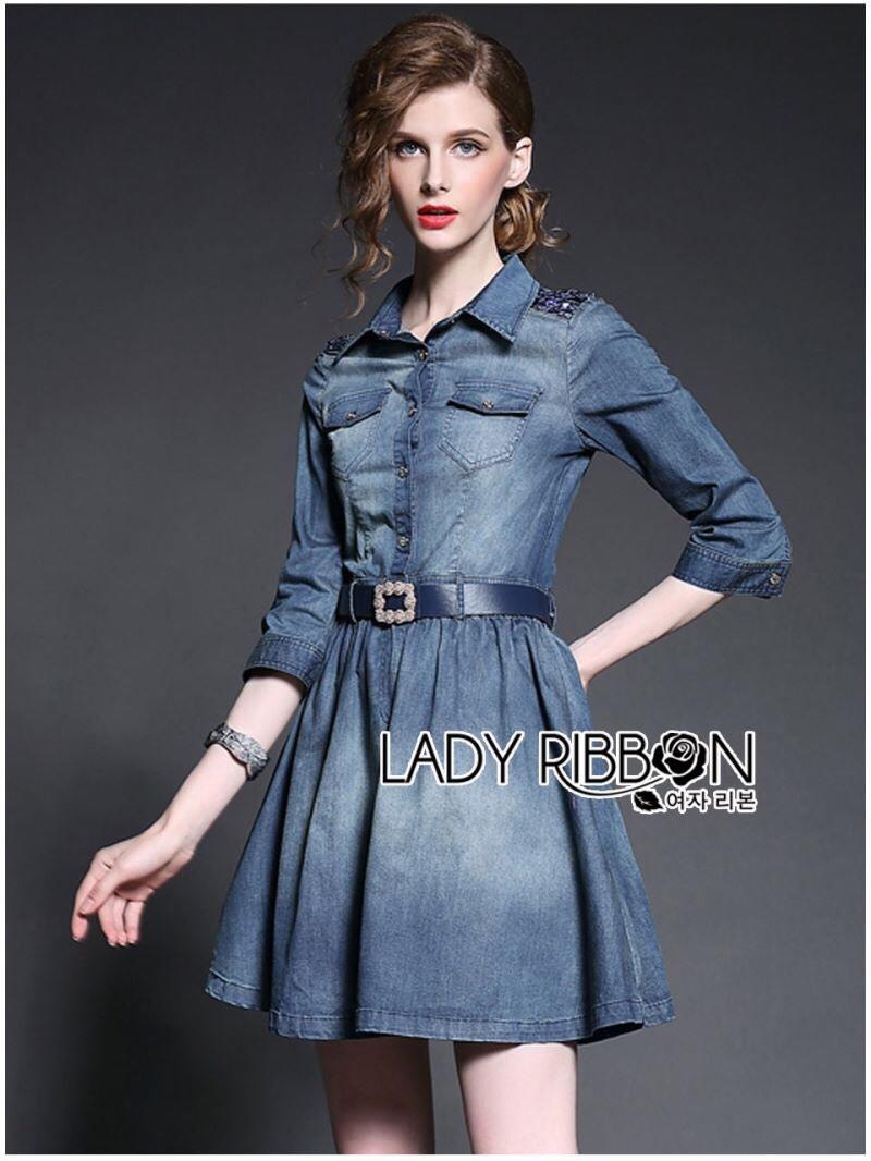 Lady Ribbon's Made Lady Vanessa Country Feminine Denim Shirt Dress with Embellished Belt