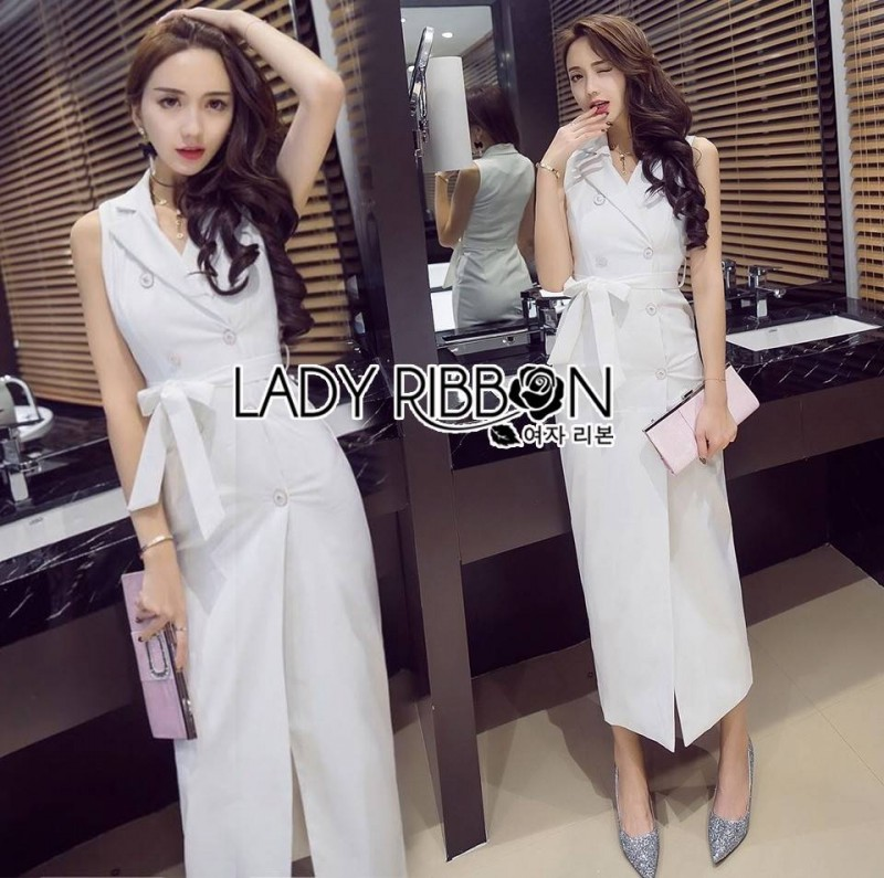 Lady Ribbon's Made Lady Carry Smart Casual Double-breasted Suit Dress