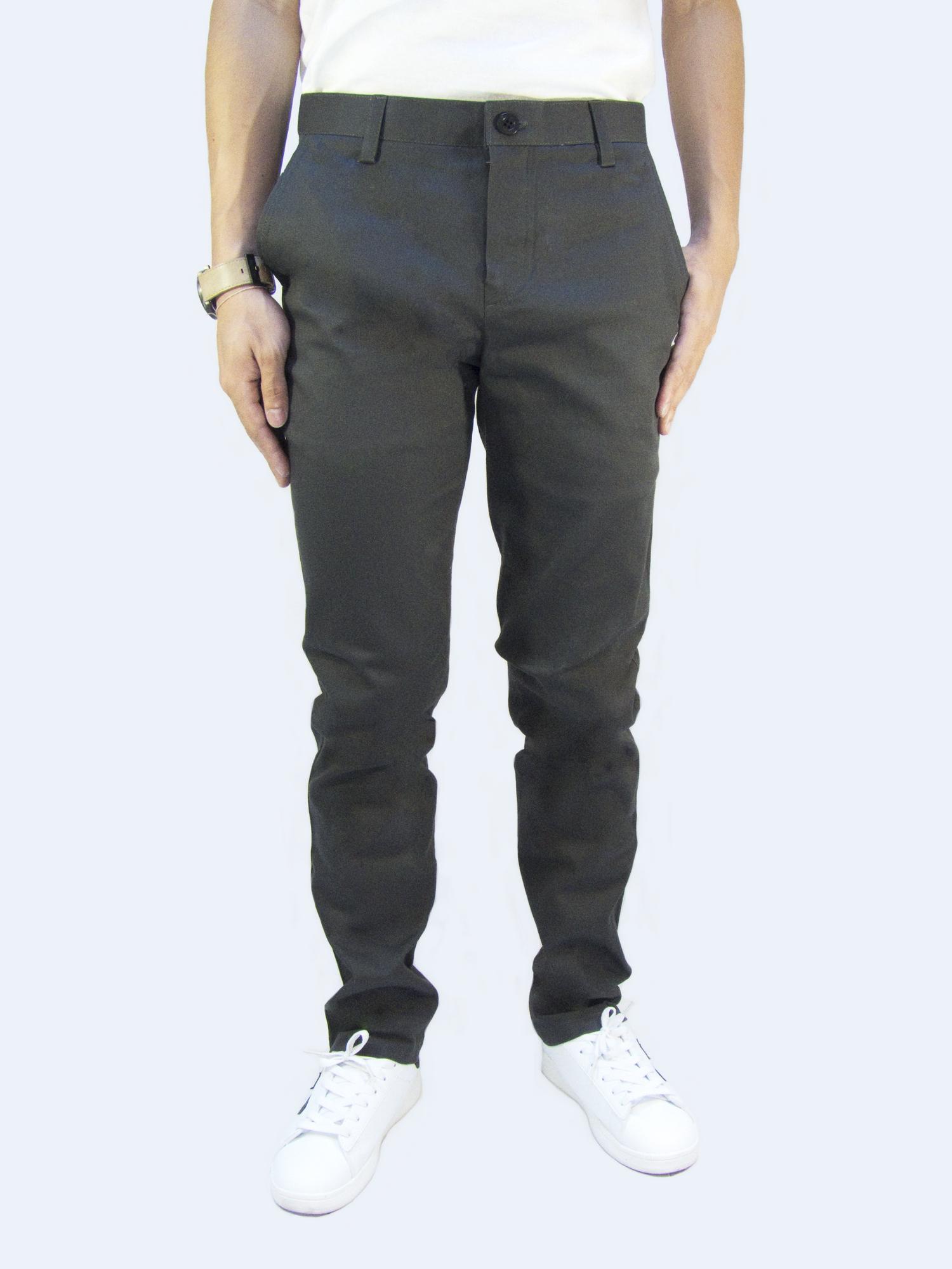 กางเกงขายาว กางเกงชิโน่ ผ้ายืด สีเทาเข้ม