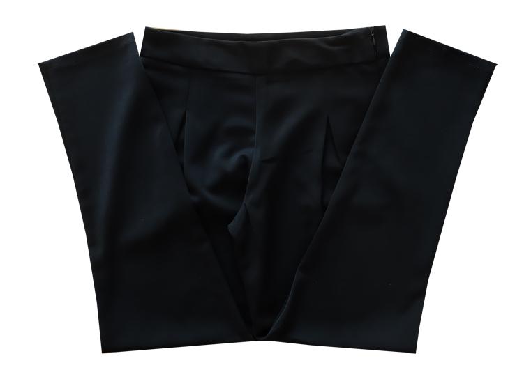 กางเกงขายาวผ้าฮานาโกะ ขาเดฟเอวสูงจีบทวิตหน้า สีดำ Size S M L XL