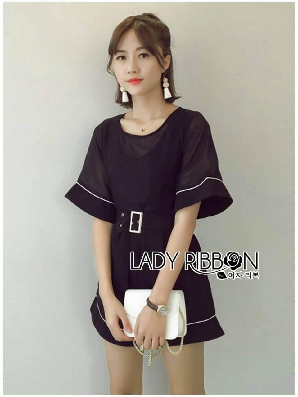 &#x1F380 Lady Ribbon's Made &#x1F380 Lady Courtney Casual Sunday Black Mini Playsuit with Belt
