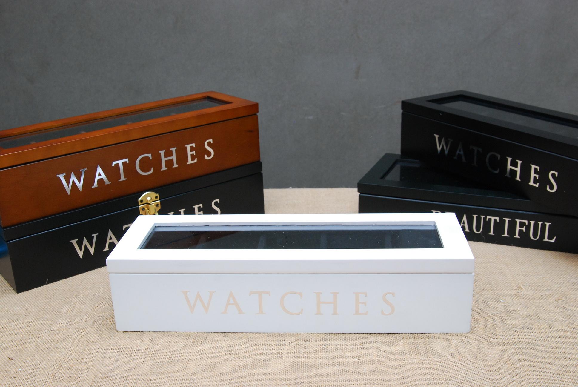 กล่องไม้เก็บนาฬิกา 5 เรือน สีขาว