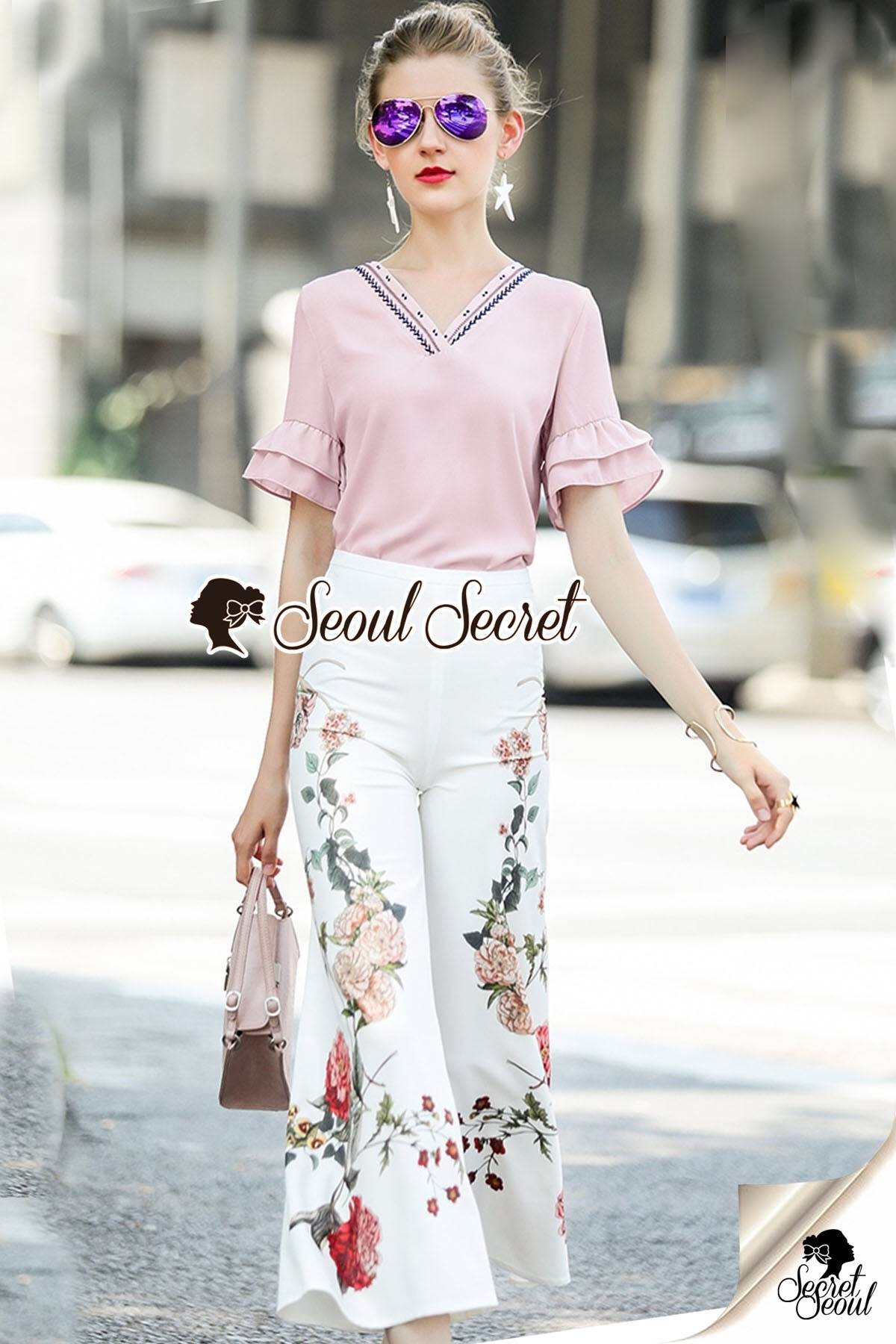 Seoul Secret Say's... Summer Vee Bohe Flora Print Pants Set
