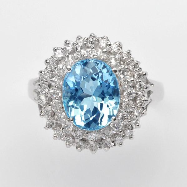 แหวนพลอยแท้แหวนเงิน925 พลอยบลูโทปาส ประดับเพชร CZ ชุบทองคำขาว