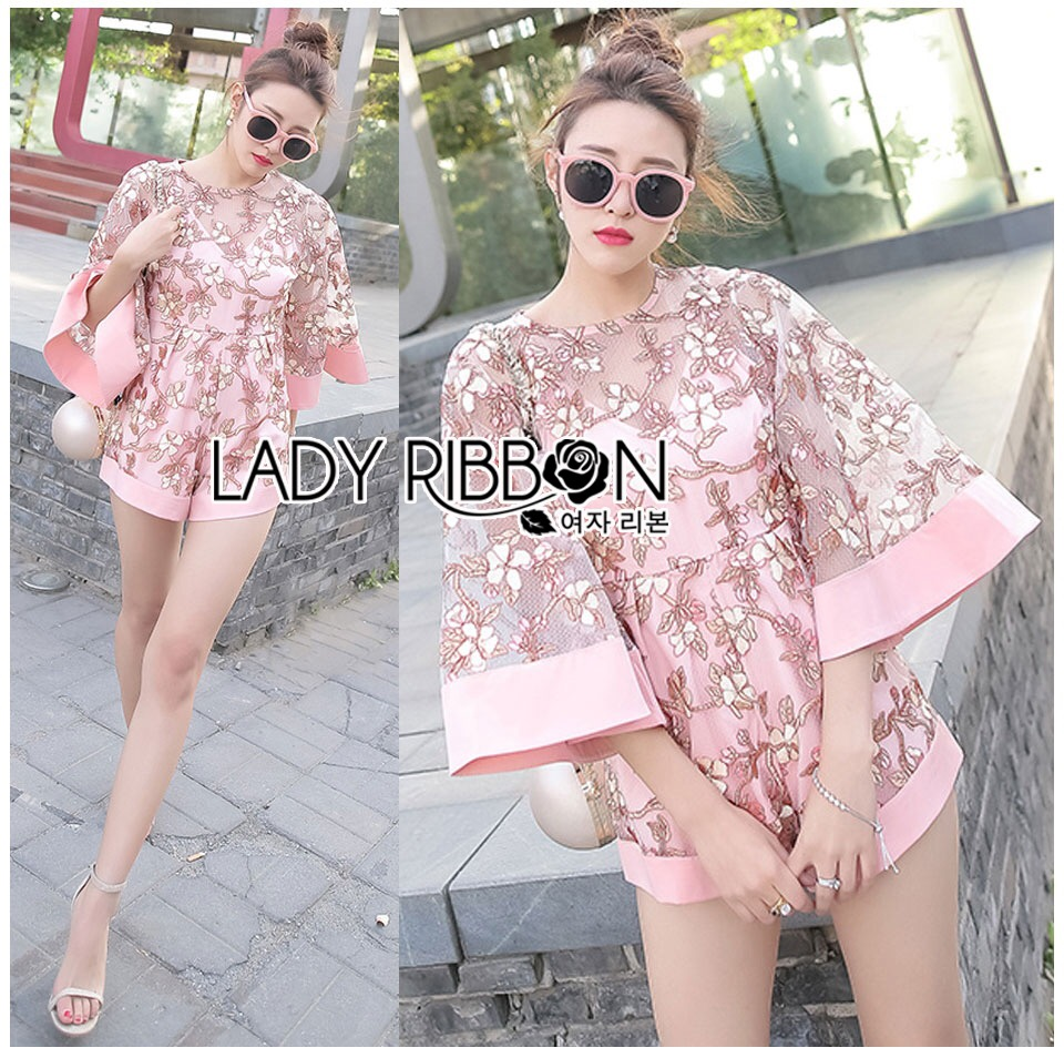 Lady Ribbon Korea LB06160516 &#x1F380 Lady Ribbon's Made &#x1F380 Lady Michelle Floral Embroidered Organza and Polyester Rose Playsuit เ