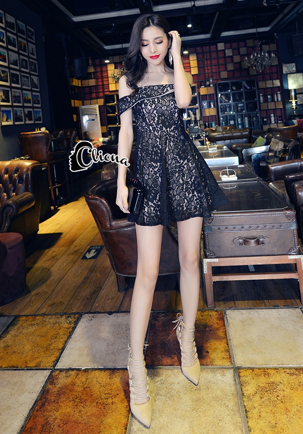 Cliona Made'Black Lace Sexy Shoulder Off Mini Dress - Mini Dress