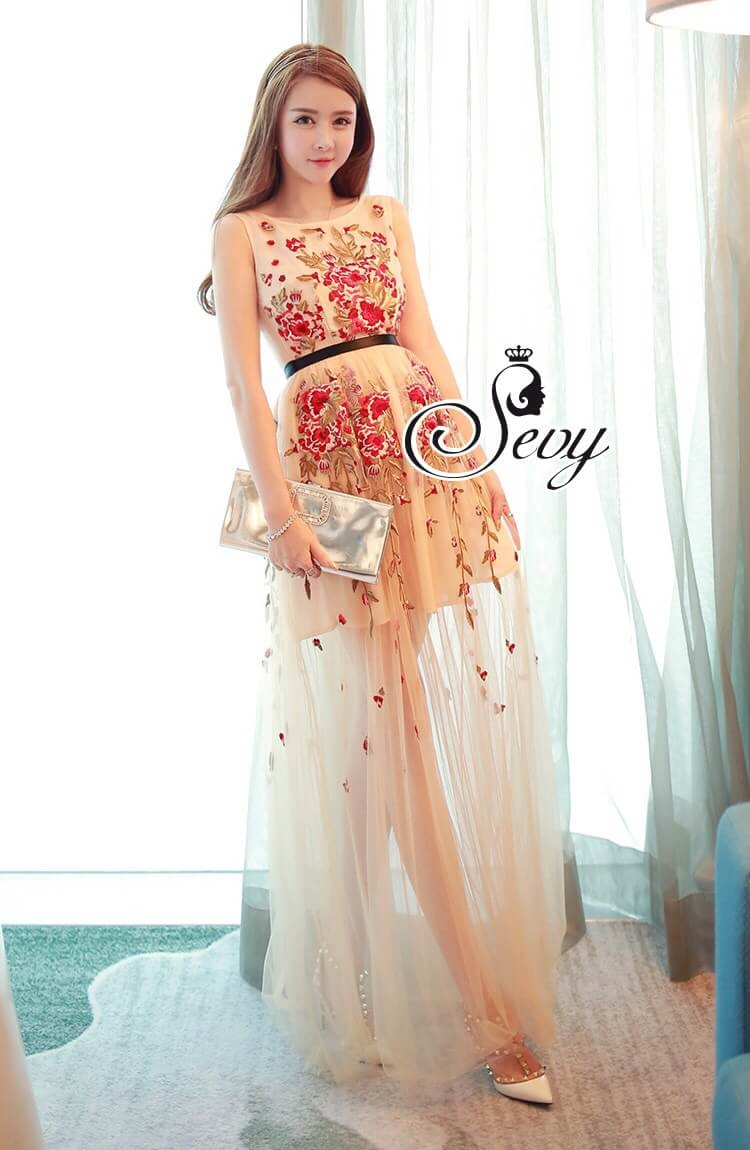 Sevy Princess Diary Flora Sleeveless See-through Maxi Dress