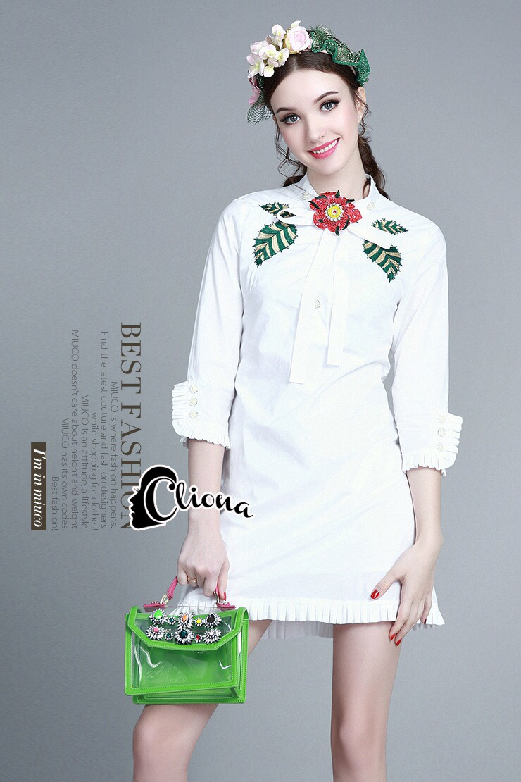 Cliona made' Luxury Chanel 4D Floral Shirt Dress