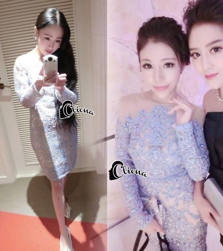 Cliona made'Imperial Soft Diamand Blue Luxury LAce Dress - Mini dress