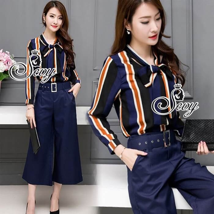 Sevy Two Pieces Of Stripes Navy Ribbon Neck Shirt With Pants Sets