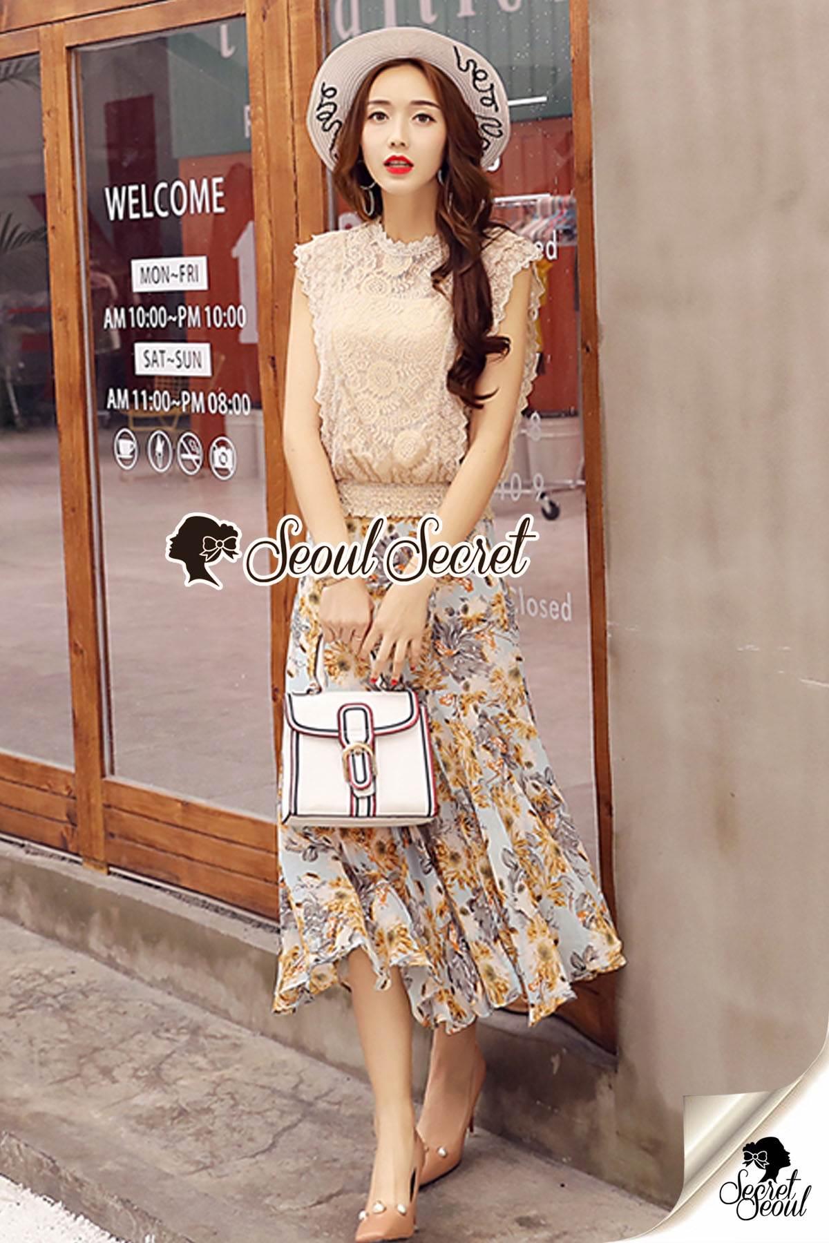 Seoul Secret Say's... Girly Creaming Lace Sleevless Bloom Skirt Set