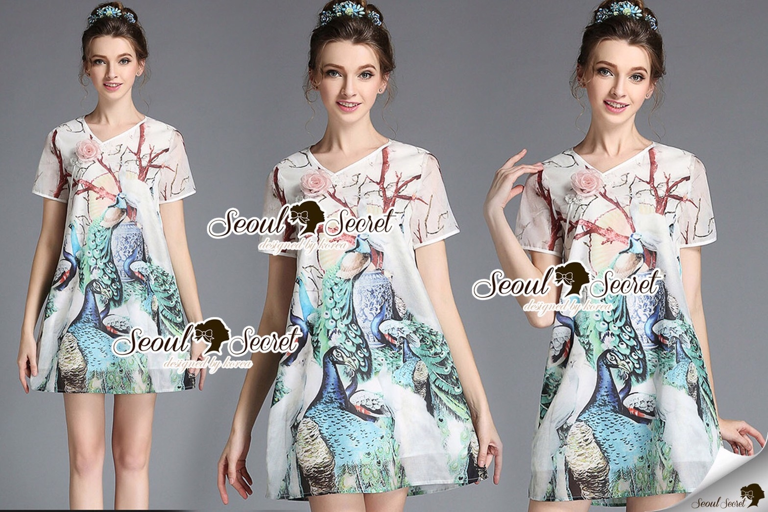 Seoul Secret Say's... Peafowl Saphire Tonely Printed Dress