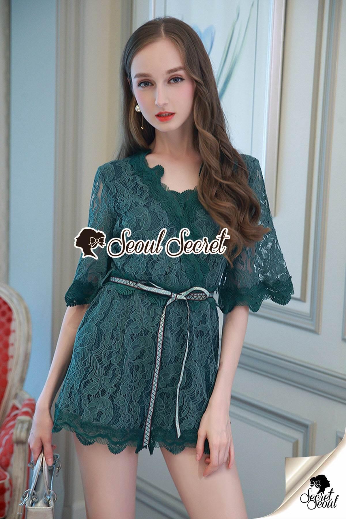 Seoul Secret Say's... Whiffle Rim Lace Murky Color Playsuit