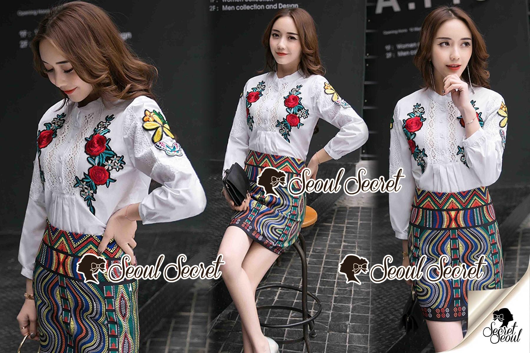 Seoul Secret Say's... Summer Rosy Blossom Furnished Shirt