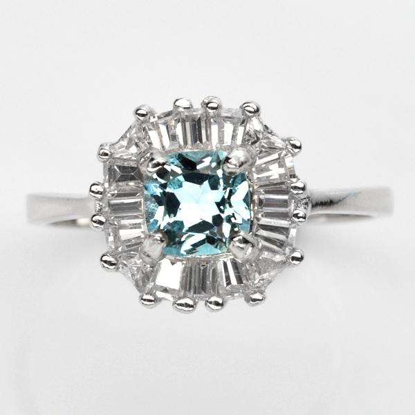 แหวนพลอยแท้ แหวนเงินแท้925 ชุบทองคำขาว ฝังพลอยโทแพซ(Topaz)ตกแต่งด้วยเพชร cz