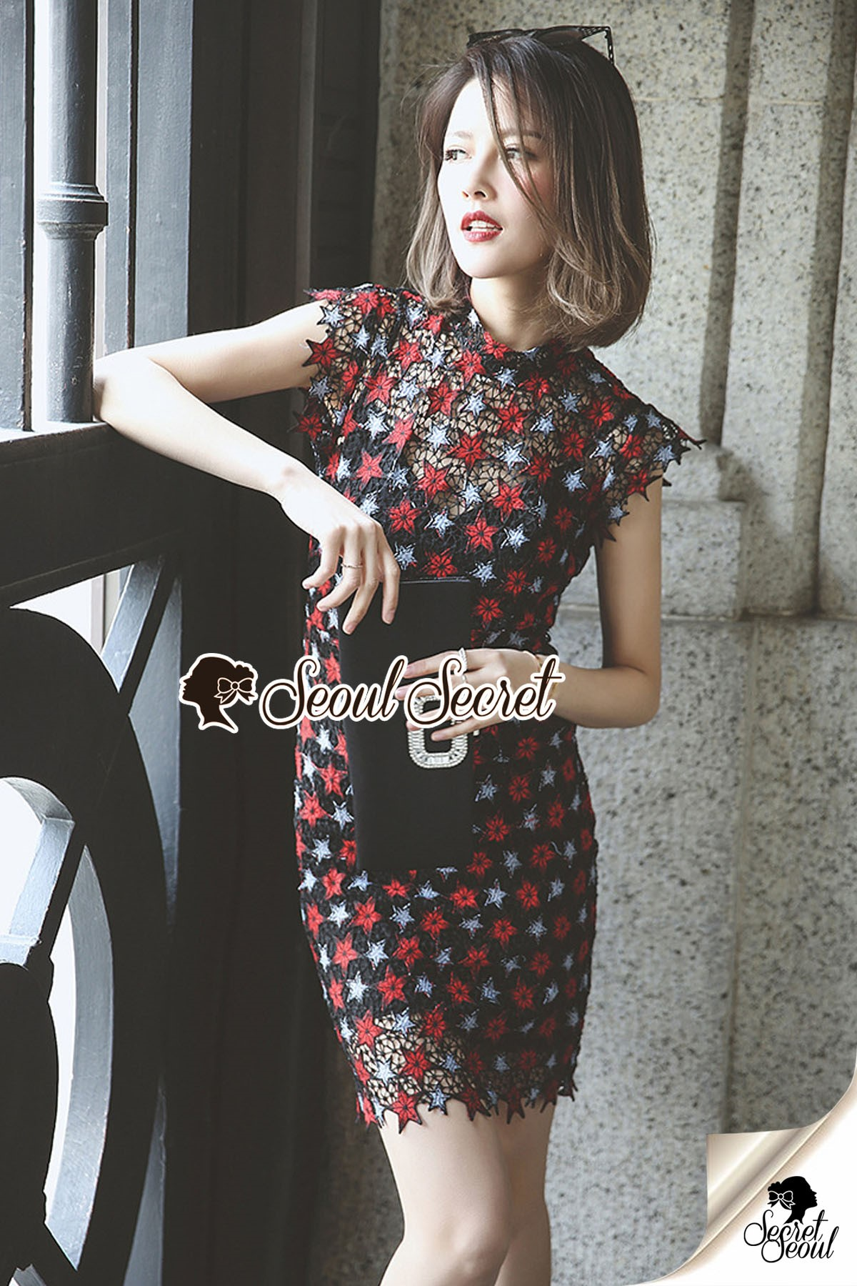 Seoul Secret Say's... Nifty Layer Star Lace Color Dress