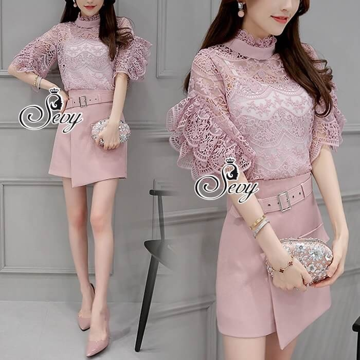 Sevy Two Pieces Of Blouse Lace With Skirt (Sets)
