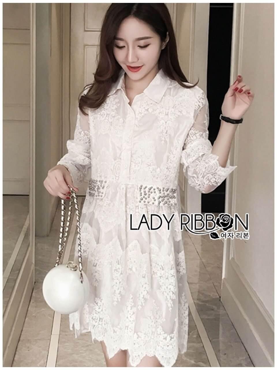&#x1F380 Lady Ribbon's Made &#x1F380 Lady Leslie Classic Twist Studded White Lace Shirt Dress