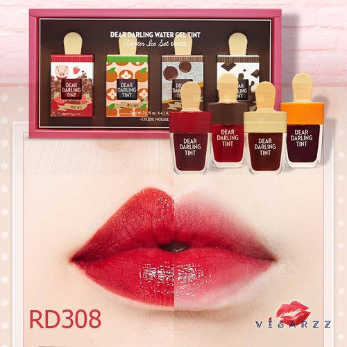 (#RD308 Limited Winter Ice Edition) Etude Dear Darling Tint Ice Cream 4.5g # RD308 ทิ้นเนื้อเจลแพคเกจไอติมน่ารักมากๆ ให้สีสันสดใส ติดทนนาน พร้อมบำรุงริมฝีปากให้ชุ่มชื้น