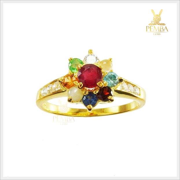แหวนนพเก้า รูปดอกไม้ ชุบทองคำแท้
