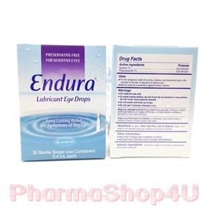 ENDURA LUBRICANT EYE DROPS 0.4 mL 30 TUBEs เอนดูร่า น้ำตาเทียม 0.4 mL 30 หลอด น้ำตาเทียม สำหรับคนตาแห้ง