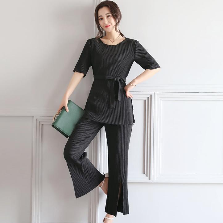 ชุดเซ็ท 2 ชิ้นสีดำ เสื้อ + กางเกงขายาว
