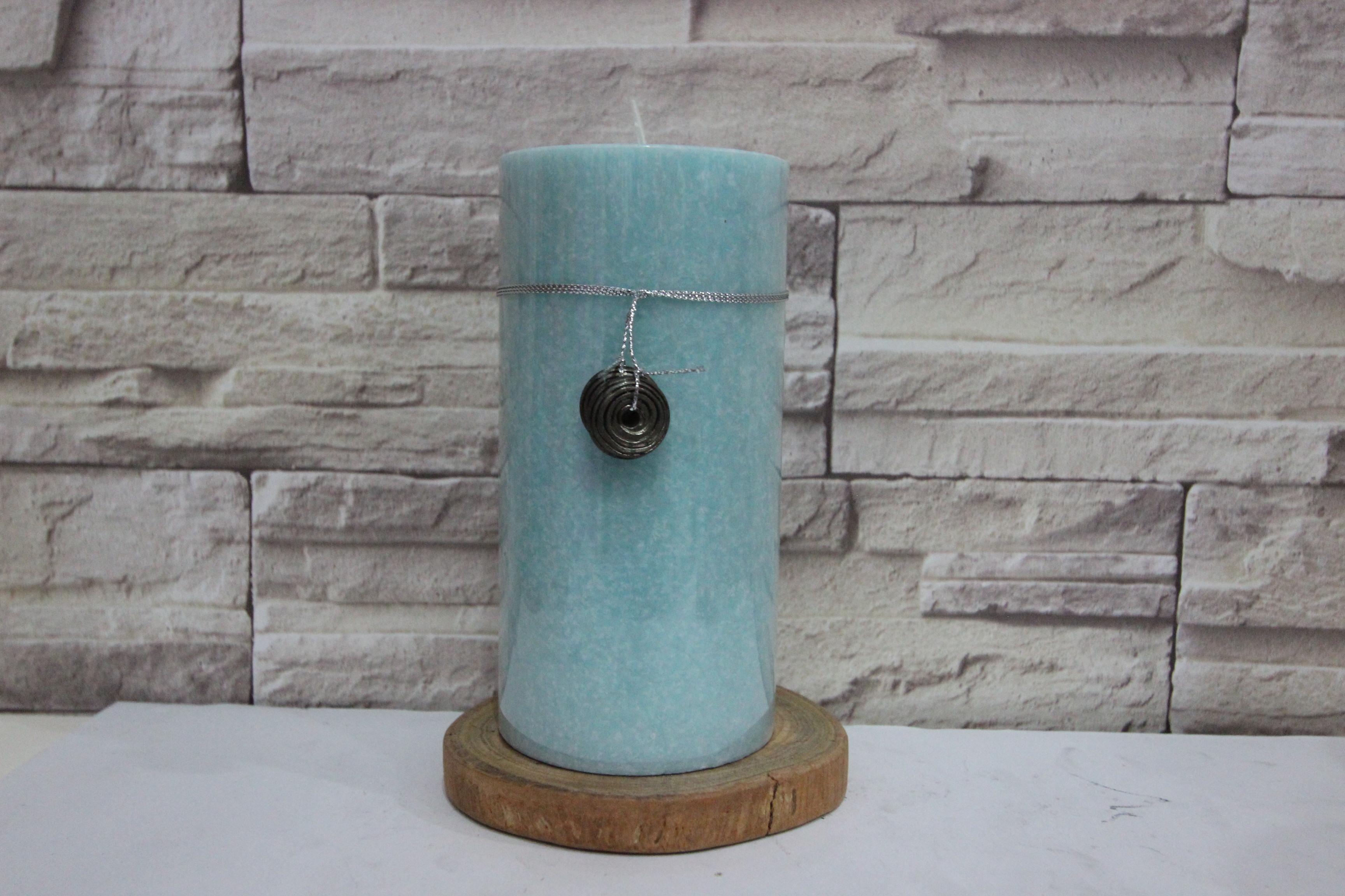 เทียนหอมตกแต่งบ้าน เทียนแท่งสีน้ำทะเล เทียนแฟนซี ขนาด 3x6 นิ้ว ตกแต่งสวยงาม