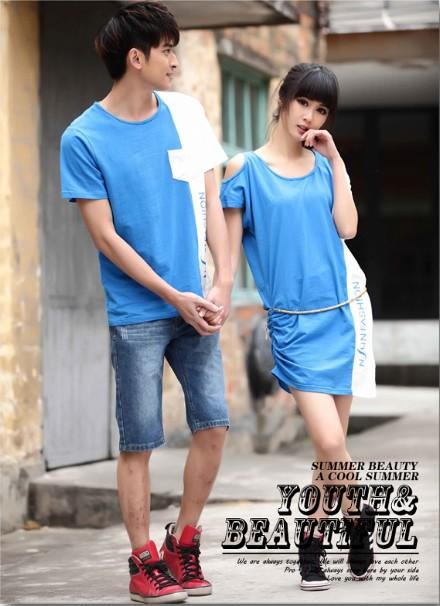 ชุดคู่รัก น่ารัก สีน้ำเงิน ชายXL หญิงM (ราคาขายเป็นคู่)