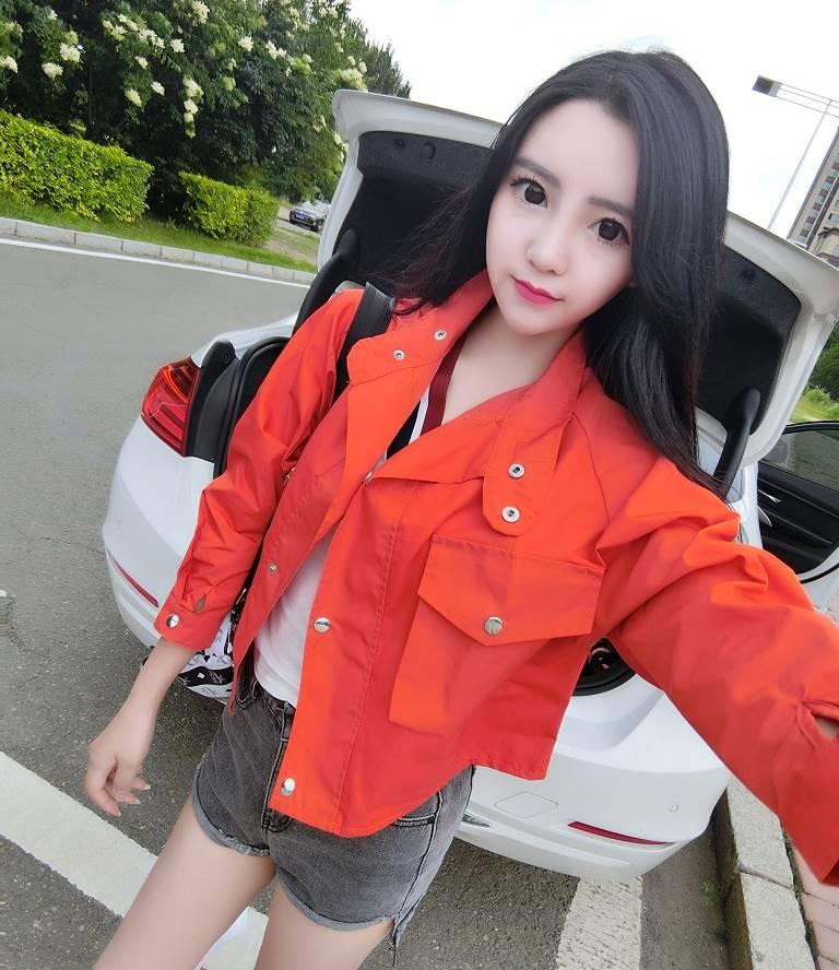 เสื้อคลุมแฟชั่น กระดุมหน้า แขนยาว สีส้ม