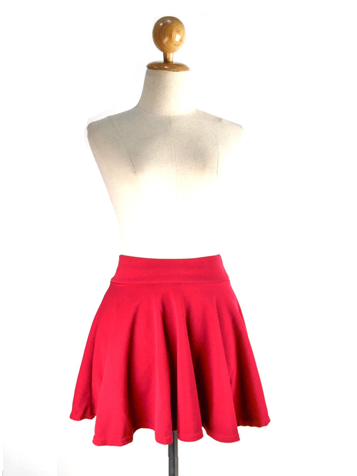(SALE) กระโปรงผ้าฝ้าย แฟชั่น สีแดง