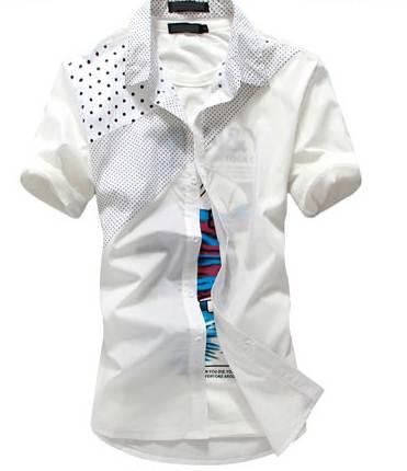 เสื้อเชิ๊ตแขนสั้น แต่งลายจุด สีขาว xl