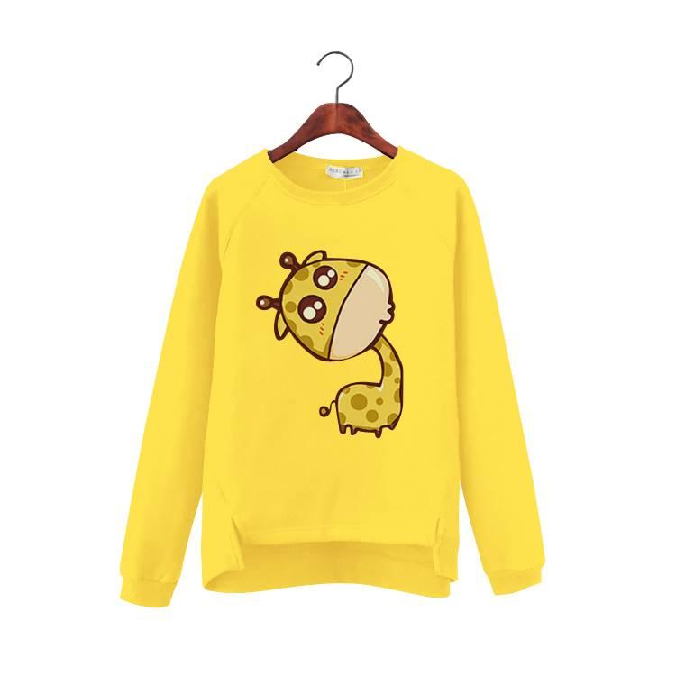 เสื้อแฟชั่น แขนยาว บุกันหนาว ลายยีราฟ สีเหลือง