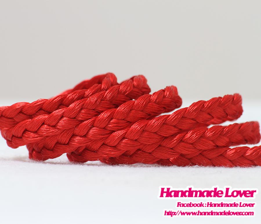 เชือกผ้าถัก สีแดง กว้าง 6 มม