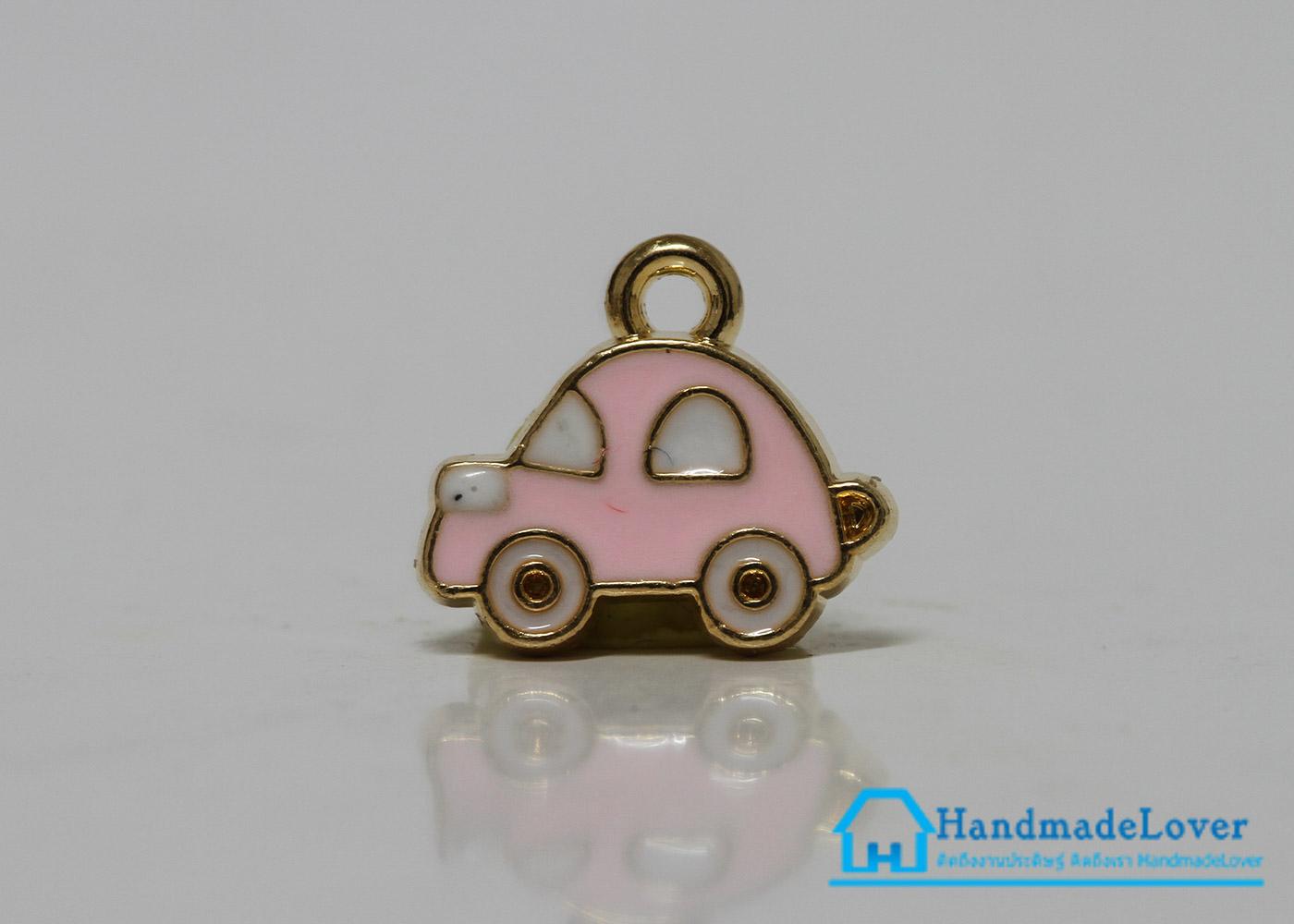 จี้อัลลอยด์ เคลือบสี รูปรถยนต์ สีชมพู