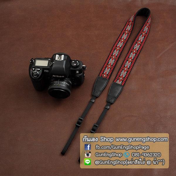 สายคล้องกล้อง cam-in Daimond Chain-Red