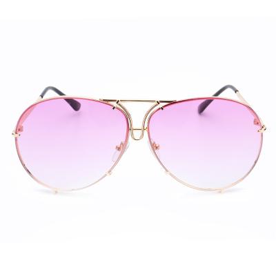 แว่นตา ฮาราจูกุ (Harajuku) สีชมพู ไล่โทนสี กรอบสีทอง (UV400)