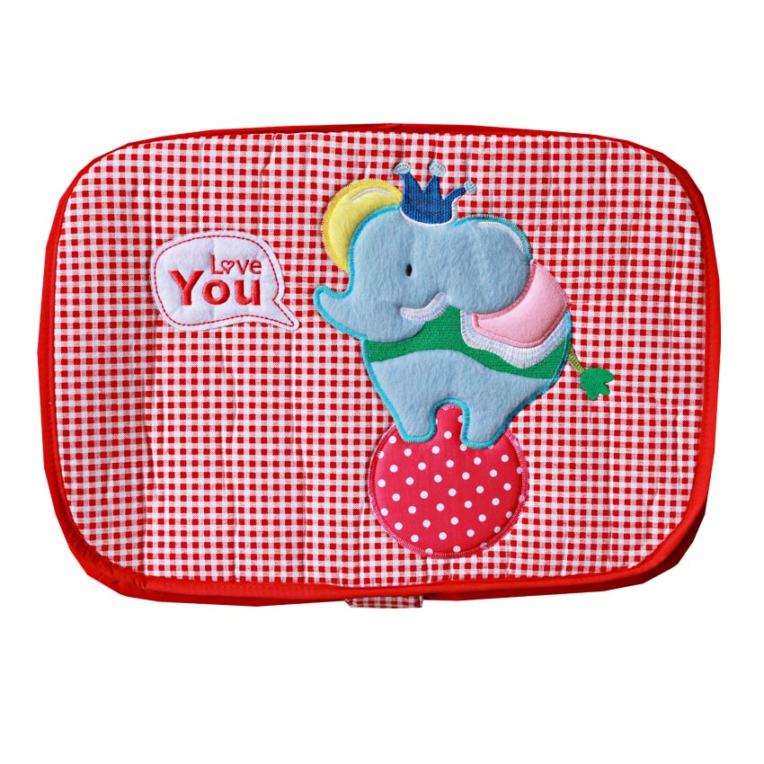 กระเป๋าถือใส่สัมภาระเด็ก (ลายช้าง) สีแดง ขนาดใหญ่ 35x45x27cm. มีฝาปิด