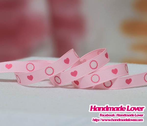 ริบบิ้นผ้าสีชมพู พิมพิ์ลายหัวใจ (160 cm.)