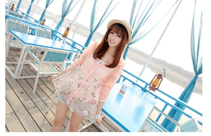 Pre-เสื้อแจคเกตซิปหน้าชีฟองสีชมพูลายดอกสุดน่ารัก มีหมวกสไตล์เกาหลี