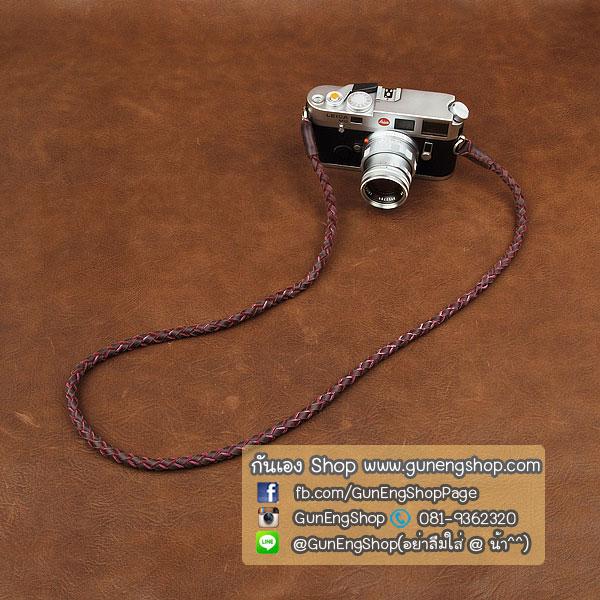 สายคล้องกล้องหนังแท้เส้นเล็ก แบบถัก Cam-in leather camera strap สีม่วง
