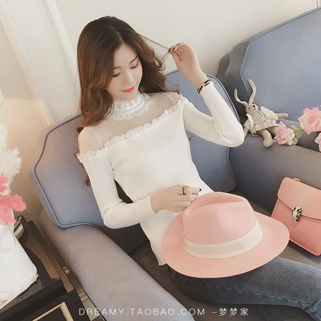 เสื้อแฟชั่น คอและไหล่แต่งลูกไม้ ไหล่ผ้าไนล่อน แขนยาว ผ้ายืด สีขาว