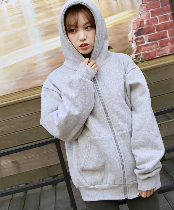 (ภาพจริง)เสื้อคลุมกันหนาว มีฮูด แขนยาว ผ้าฝ้าย บุกันหนาว สีพื้น สีเทา