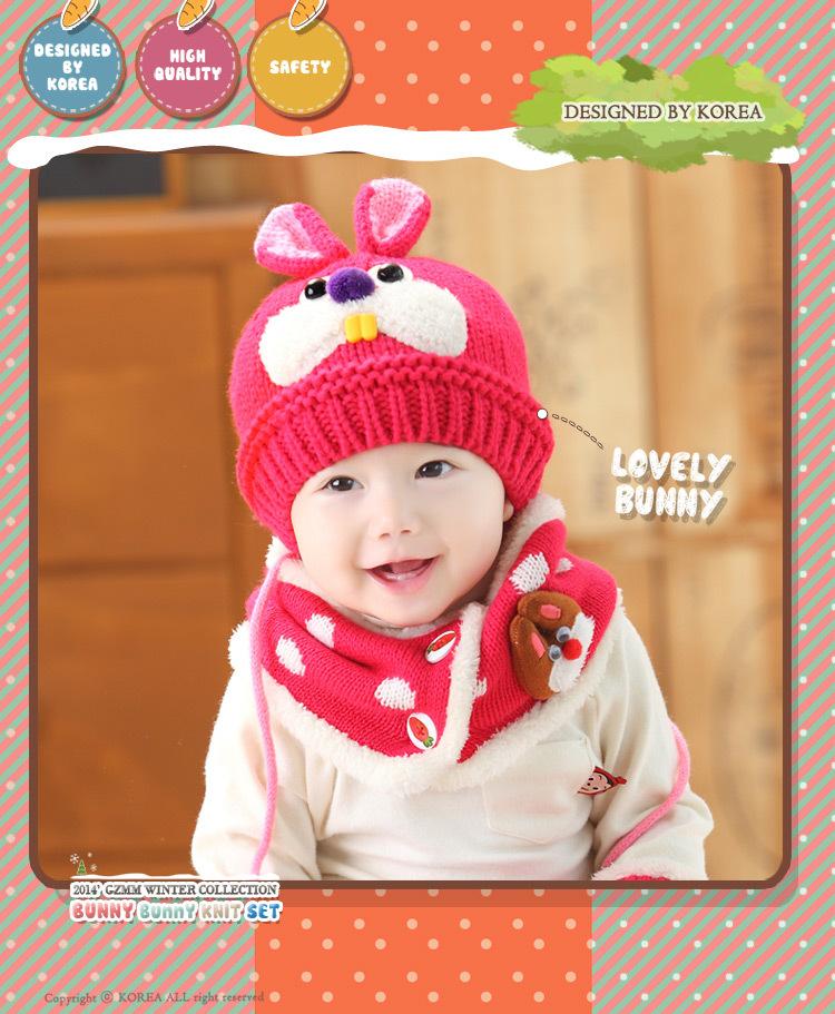SC96-116 SET หมวก+ผ้าพันคอ ลายกระต่ายน้อยน่ารัก เป็นไหมพรมบุขนนุ่มทั้งหมวกและผ้าพันคอ สำหรับเด็ก 6เดือน -3 ขวบ