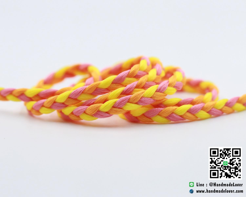 เชือกผ้าถัก สีส้ม ขนาด กว้าง 6 มม