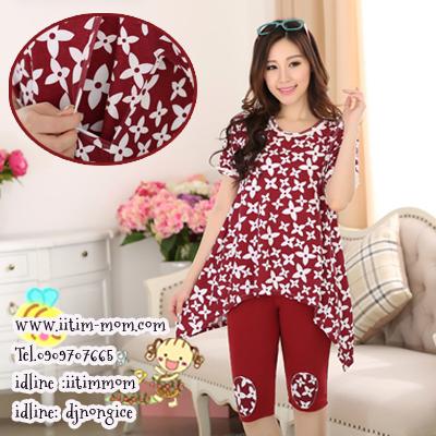 ชุดเซ็ตให้นมเสื้อสีแดงพิมพ์ลายดอกไม้ ผ้ายืด+กางเกงเลกกิ้งมีสายปรับ